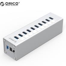 ORICO A3H10 концентратор USB 3.0 высокое качество с адаптер питания алюминиевый 10 портов USB 3.0 хаб-серебро