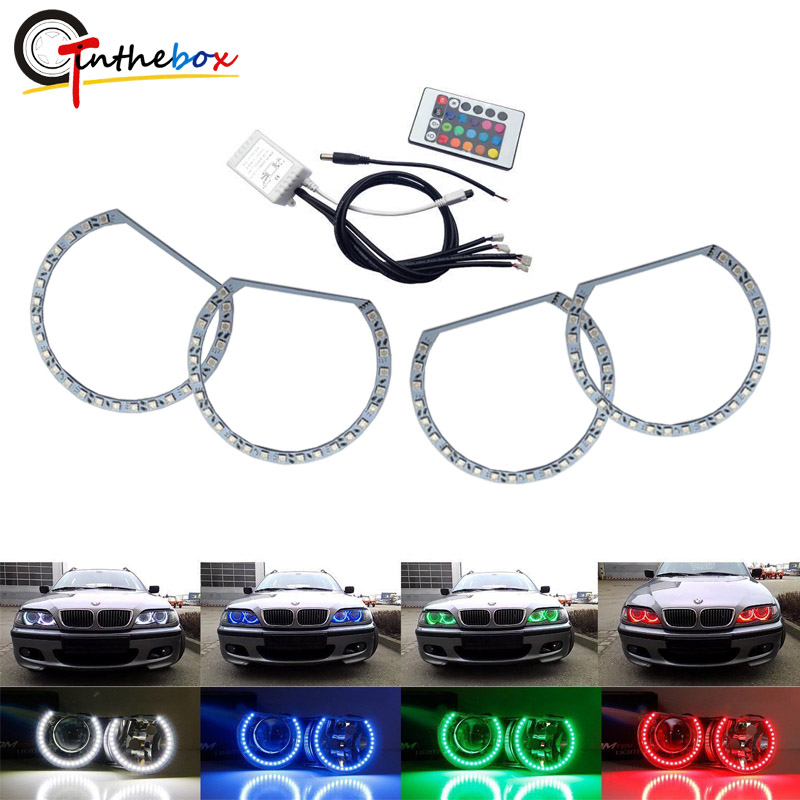 Gtinthebox RGBW Multi-Color LED Angel Eyes Halo Ring Lighting Kit W/Wireless Remote Control For BMW E36 E46 E38 E39 3 5 7 Series