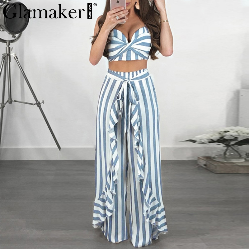Glamaker Boho striped strapless women   jumpsuit   summer cropped ruffle long playsuit Two-piece suit sash sexy   jumpsuit   overalls