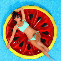 Giant Inflatable Watermelon Round Pool Float Mattress Sunbathe Beach Mat Air Swimming Ring Swimming Circle Beach Sea Party Toys