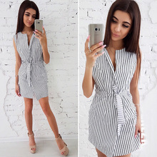 2019 new round neck tie striped women dress fashion casual dress women's clothing summer self tie shoulder striped dress