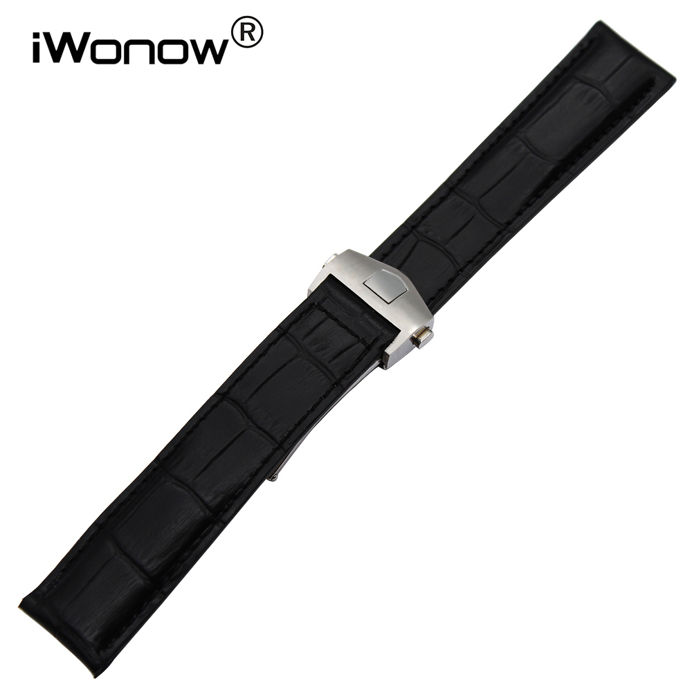 Genuine Leather Watchband for Carrera Aquaracer Formula 1 Monaco Replacement Watch Band Wrist Strap Black Brown 19mm 20mm 22mm high quality genuine leather watchband 22mm brown black wrist watch band strap wristwatches stitched belt folding clasp men