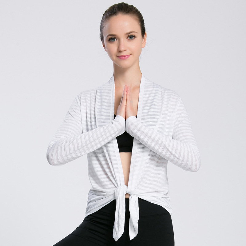 Calofe Sports Tee Shirts Women Long Sleeve Striped Yoga Shirt For Running Jogging Breathable Quick Dry Gym Cardigan Yoga Tops