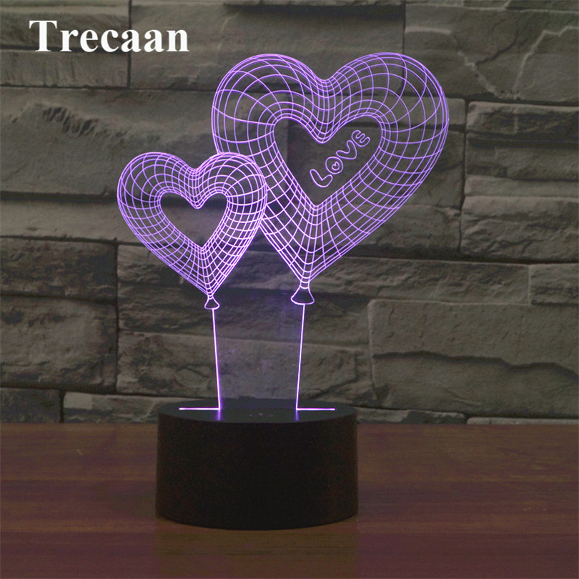 Trecaan Valentine s Day Heart Balloon 3D Light Colorful Touch Charger LED Vision Light Gift Table Lamp