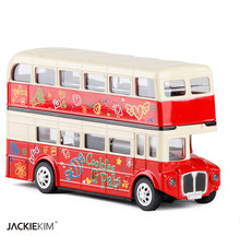 New 1:28 London double decker bus acousto-optic alloy car with pull back model for children birthday gifts toy free shipping(China)