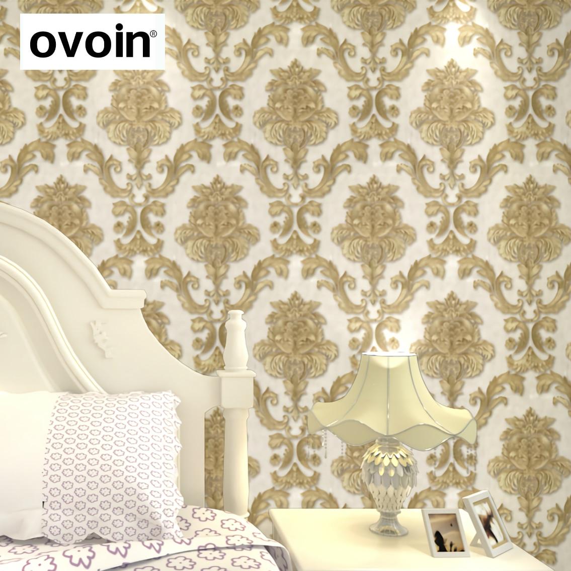 Modern Luxury Glitter Gold Damask Vinyl Wallpaper Roll