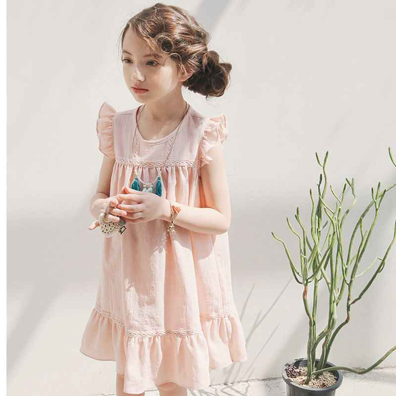 aed6097e96187 6 - 14 yrs big girls summer cotton sleeveless white dress elegant birthday  party kids clothes teenage loose chiffon ruffle dress
