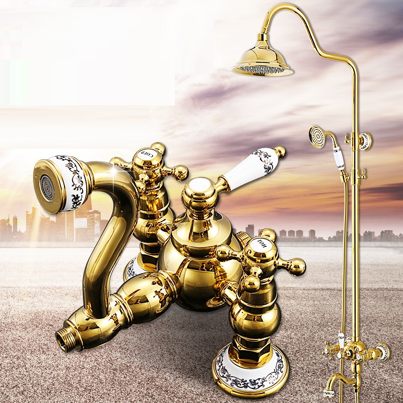 Luxury Gold Ceramics Crystal Retro Solid Brass Bathroom Shower Set Faucet Wall Mounted Dual Handle Rainfall Shower Mixer Taps-in Shower Faucets from Home Improvement    3