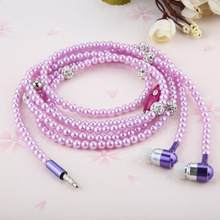 Rhinestone Jewelry pearl Necklace Earphones with Mic Beads 3.5mm In-ear Hi-Fi Wired Headphone For Xiaomi for iPhone for samsung(China)