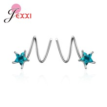 Korean Style Unique Design 925 Sterling Silver Rotate Earrings Austrian Crystal Star Shape Charming Exquisite Girl's Gift(China)