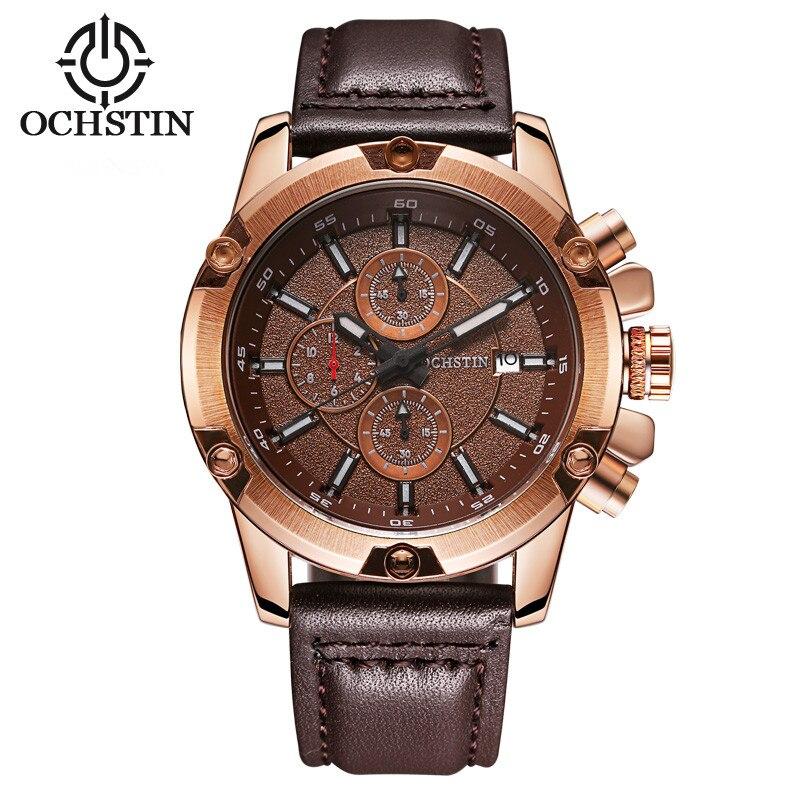 OCHSTIN de los hombres de la moda reloj de cuarzo reloj XFCS de cuero de la marca de lujo del ejército militar impermeable de los hombres de la moda reloj de pulsera Hodinky