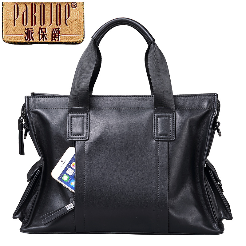 Pabojoe brand 100% Genuine Leather Men Messenger Bag Casual Shoulder Bag cow leather handbag bolsa feminina free shipping cow leather tote bag brand 2018 bolsa feminina new women handbag 100% genuine leather honorable shoulder bag free shipping