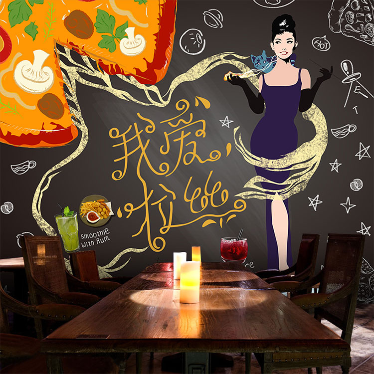 Custom photo wallpaper 3D background wall blackboard chalk pizza dining room restaurant snack store hot pot wallpaper mural corsair blackboard wall sticker wallpaper