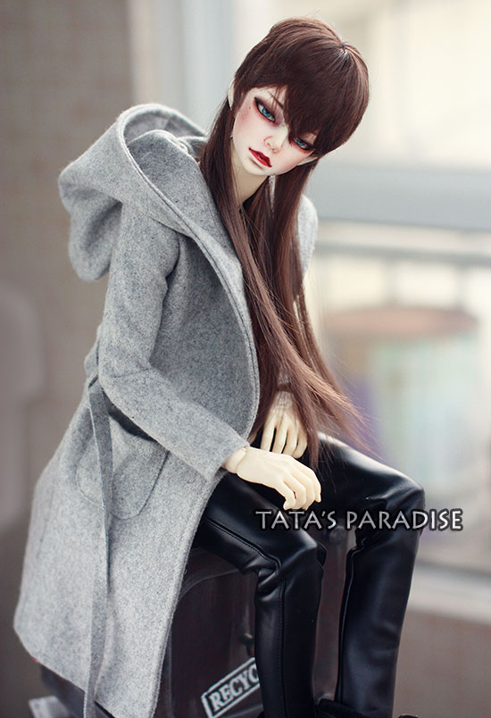 Fashion gray  coat  For BJD 1/4 MSD,1/3,SD17, Uncle Doll Clothes Accessories fashion black turtleneck sweater for bjd 1 3 sd17 uncle doll clothes accessories