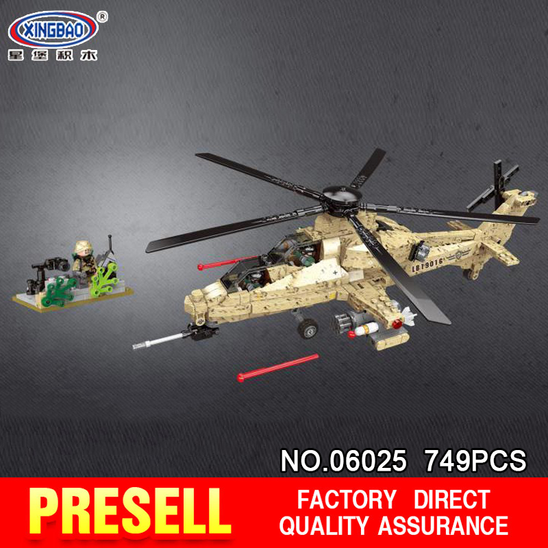 XINGBAO 06025 749PCS Military Series The WZ10 Helicopter Set Blocks Bricks Building Educational Toys Model Gifts Funny DIY M