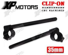 35mm Clip-On ClipOns Handlebars Universal Fit For 35mm Fork Tubes Motorcycle Black