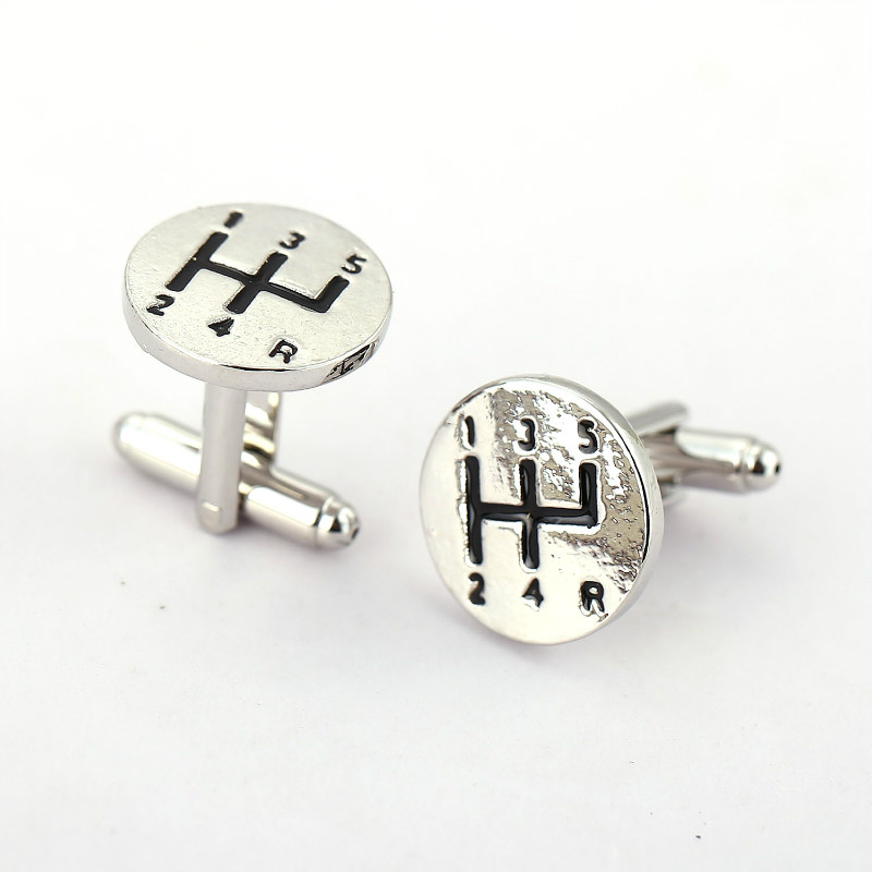 10pairs/lot Manual Car Transmission Silver Plated Shirt Brand Cuff Buttons Gemelos Fashion Cufflinks For Men HC11333