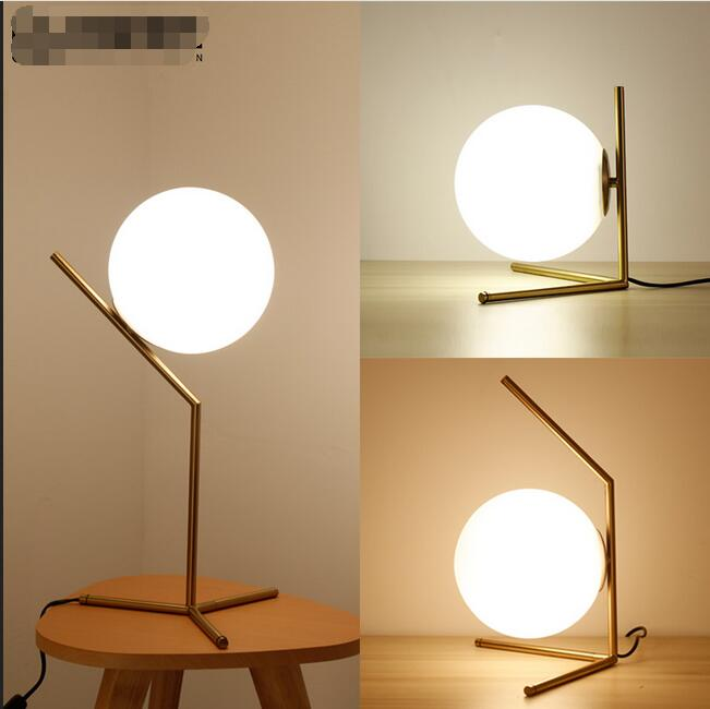 Modern minimalist ball Table Lamps Nordic fashion study bedroom bedside glass desk lamp iron decorative personality LU626 ZL141