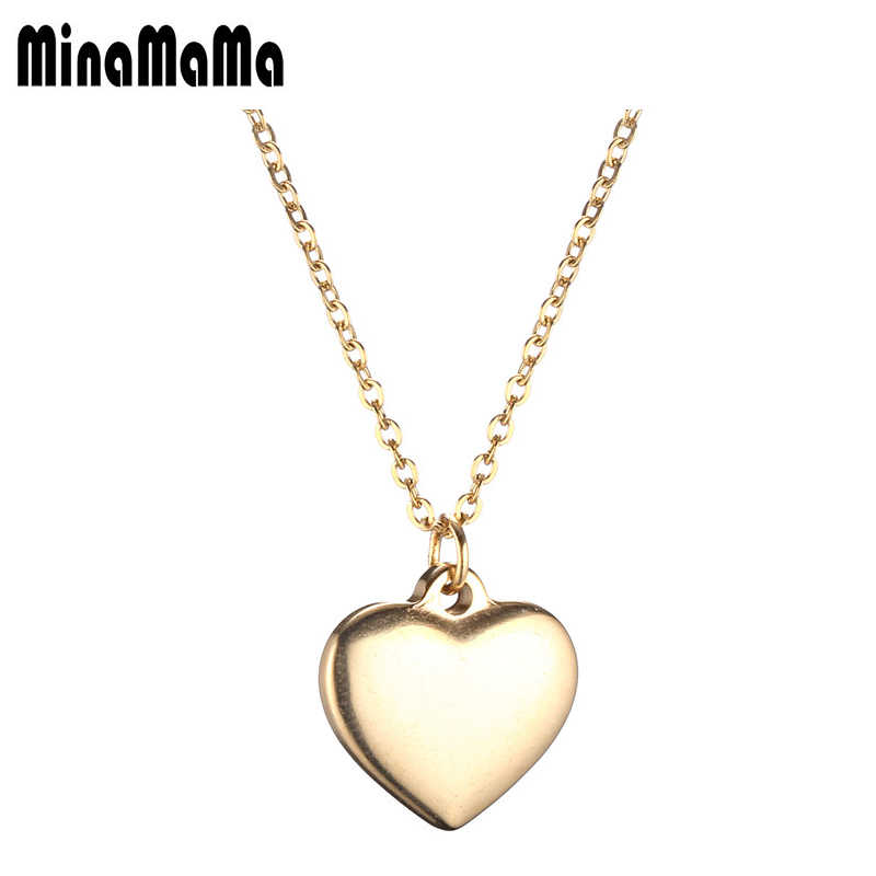 Love Heart Stainless Steel Pendants Necklaces For Women Gold Silver Color Valentine's Day Jewelry Gift 2018 Female