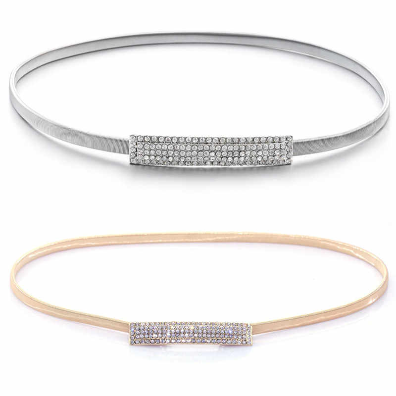 Gold/Silver Loaded Elastic Chain Waist Belt Women High Quality Decorative Female Belts for Dresses