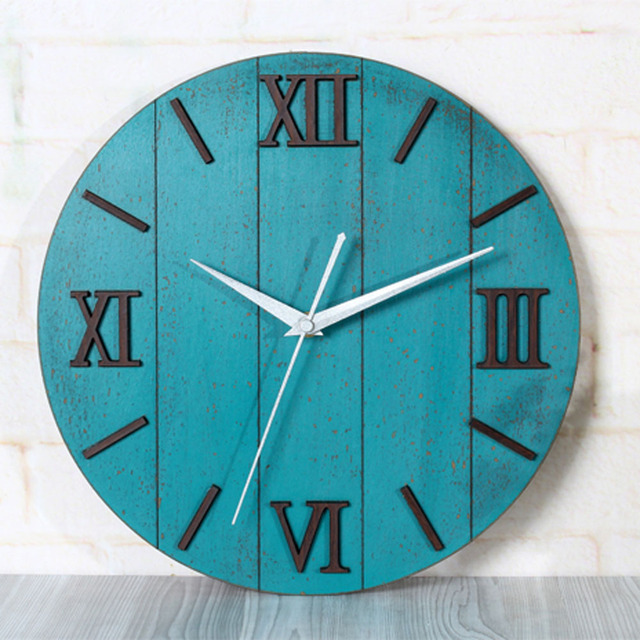 3D Antique European Mediterranean Wall Clok Roman Numeral Round modern Design Wall Clock Silent Non-tickingWall Clock
