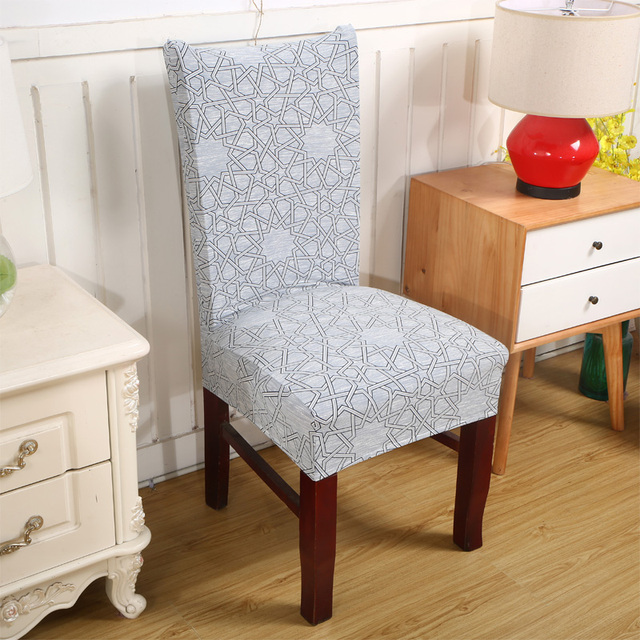 Gray Chair Covers For Weddings Rattan Swivel Chairs Spandex Elastic Polyester Art Space Printed Party Banquet Dining V20