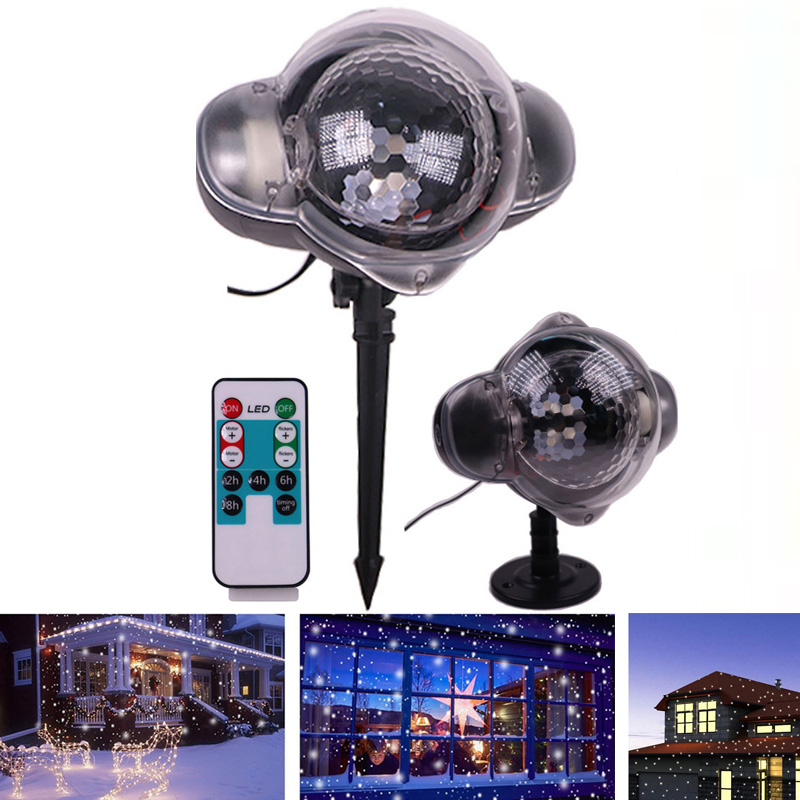 Snowfall Projector Lamp Waterproof Laser Projection Led Christmas Party Lights With Remote Control Snowflake Landscape Light christmas lights holiday led projector outdoor rotating projection snowflake led lights projection lamp christmas decoration