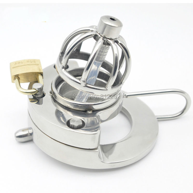 2017 NEW Super Small Male Chastity Device Adult Cock Cage With Urethral Catheter BDSM Sex Toys Stainless Steel Chastity Belt 2016 adult male max security steel trap locking male chastity belt with cock cage and large crotch panel cbt slave restraint sex