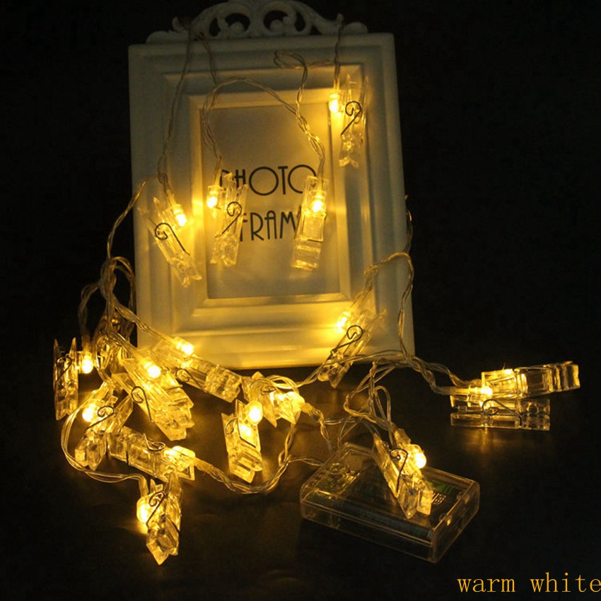 3m 20 led Photo Clip String Lights garland photo Holiday New Year Christmas Party Wedding Home Decoration led lamp 3AA Battery in LED String from Lights Lighting