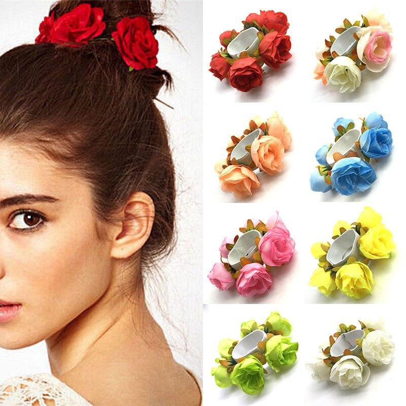 Fashion Women Rose Flower Elastic Hair Band Solid Color Ponytail Hair Circle Wedding Hea ...