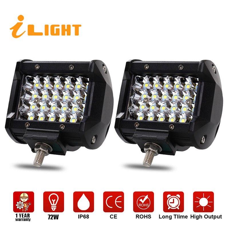 2 Stücke Bar LED 72 Watt Beleuchtung Bar Strahl 4 zoll Led Arbeitsscheinwerfer Offroad Lampe Scheinwerfer Auto Barra 4X4 Worklamp Foglight iLight
