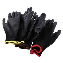 12 пар Черные Нейлоновые ПУ защитные перчатки защитные рабочие перчатки для пальмового покрытия и покрытые перчатки желтые/красные/коричневые полоски