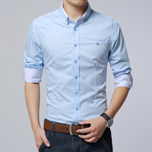 Freizeit Business männer Baumwolle Casual Shirts Koreanischen Stil Slim Fit khaki blau boss hemd männlich sommer langarm shirts plus größe