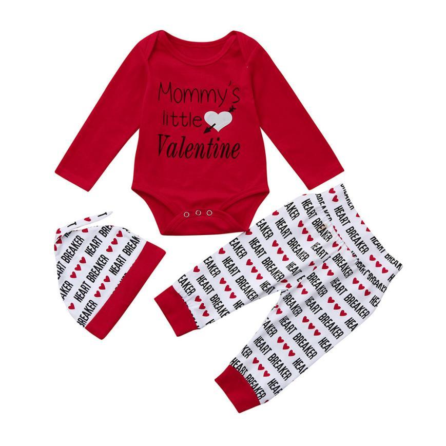 #5001 Newborn Infant Baby Boy Letter Romper +Pants+Hat Valentine's Day Outfits Set