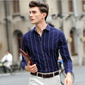 2016 Spring Autumn New Mens Casual Plaid Shirts Long Sleeve Slim Fit Comfort Cotton Shirt Leisure Styles Mens Dress Shirts M-5XL