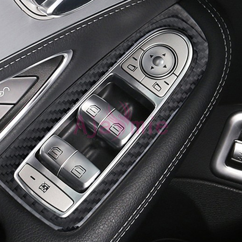 Accessories For <font><b>Mercedes</b></font> Benz W205 C Class C200 <font><b>C300</b></font> C180 GLC GLC260 2015 <font><b>2016</b></font> Carbon Fiber Window Glass Switch Trim Car Styling image