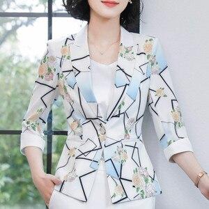 Image 4 - Modna kurtka damska formalna szczupła temperament na co dziń z nadrukiem pół rękawa marynarka biurowa, damska wiosna jesień plus rozmiar płaszcz