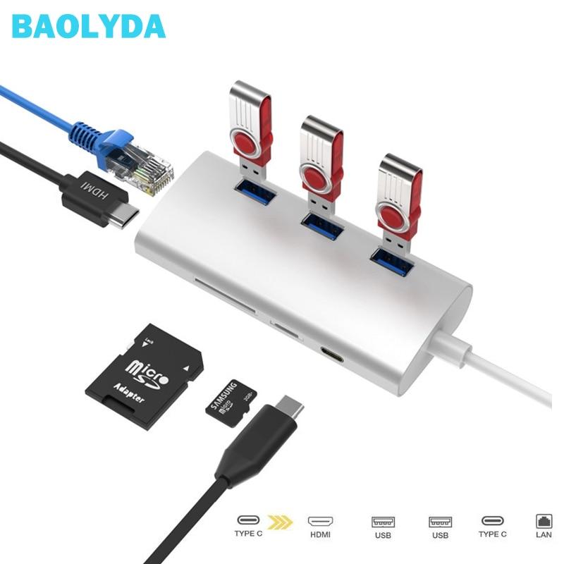 Baolyda USB C Hub To Gigabit Ethernet Rj45 Lan Adapter For Macbook USB Type C HDMI Converters Thunderbolt 3 Multiport Adepter