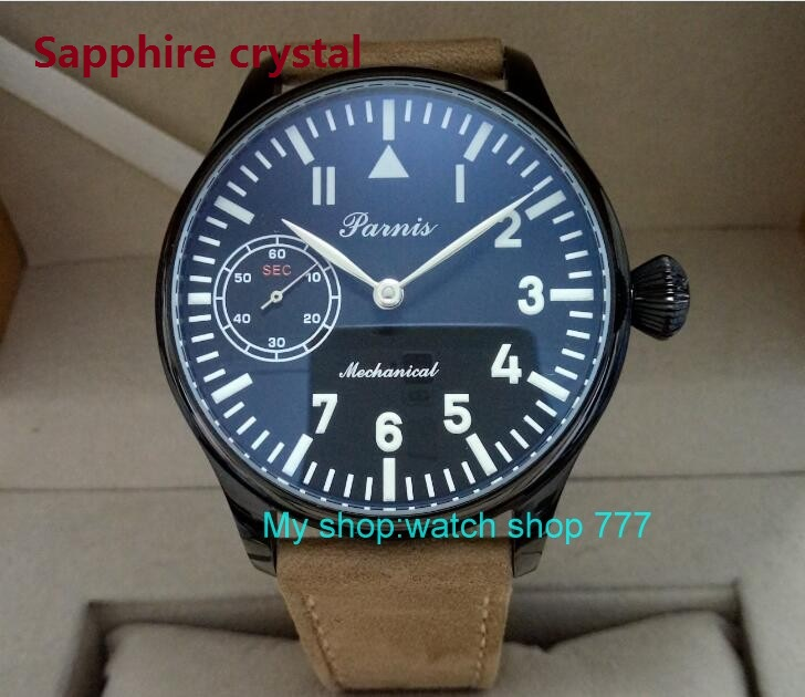 Sapphire crystal 44mm PARNIS black dial 6497/3600 Mechanical Hand Wind movement PVD case men's watch Mechanical watches 56sy 2016 new fashion 44mm parnis pilot black dial 6497 3600 mechanical hand wind movement sapphire crystal men s watch 63a