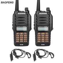 Nueva UV-9R Baofeng Walkie Talkie 8 W UHF VHF radio de Doble Banda IP67 Impermeable Jamón Radio de Dos Vías Para La Caza Con Auriculares 2 UNIDS