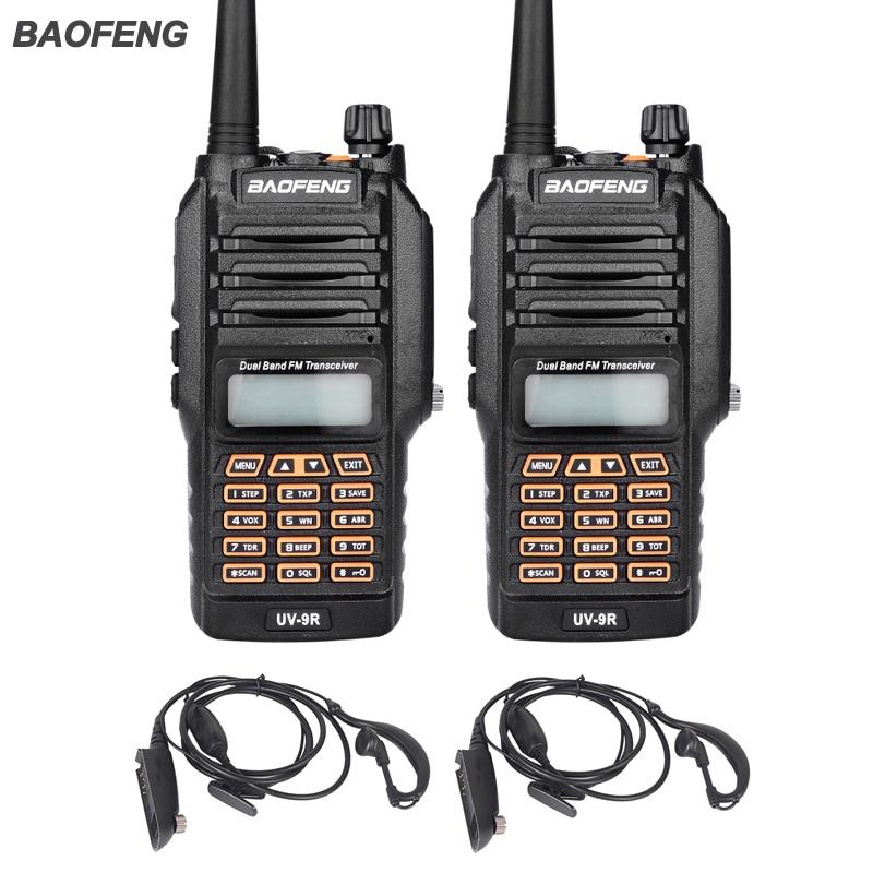 imágenes para Nueva UV-9R Baofeng Walkie Talkie 8 W UHF VHF radio de Doble Banda IP67 Impermeable Jamón Radio de Dos Vías Para La Caza Con Auriculares 2 UNIDS