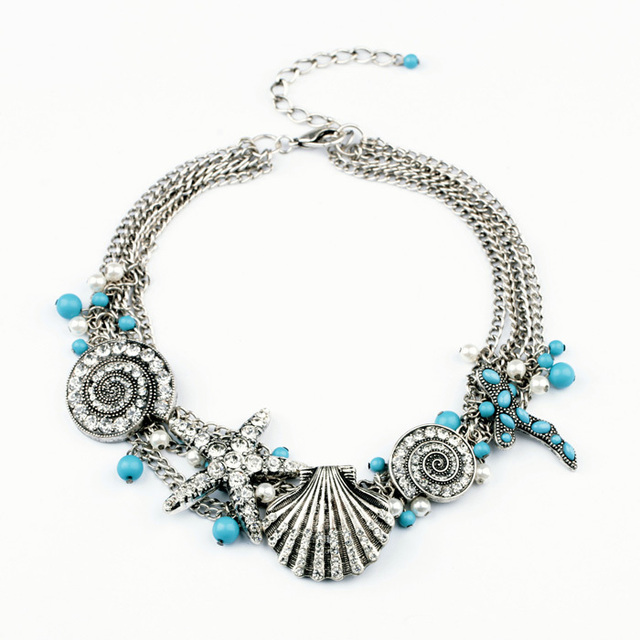 Colar da sereia com pentagrama concha moda platinadas jóias