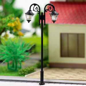Image 4 - Luces de calle miniatura de 65mm, luces LED de poste de lámpara, miniatura, doble cabezal, blanco cálido, LYM61, 5 uds.