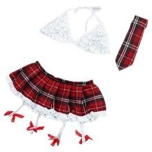 NEW-Women's Sexy Lace Babydoll Lingerie Sleepwear Plaid Skirt+Bra +Tie