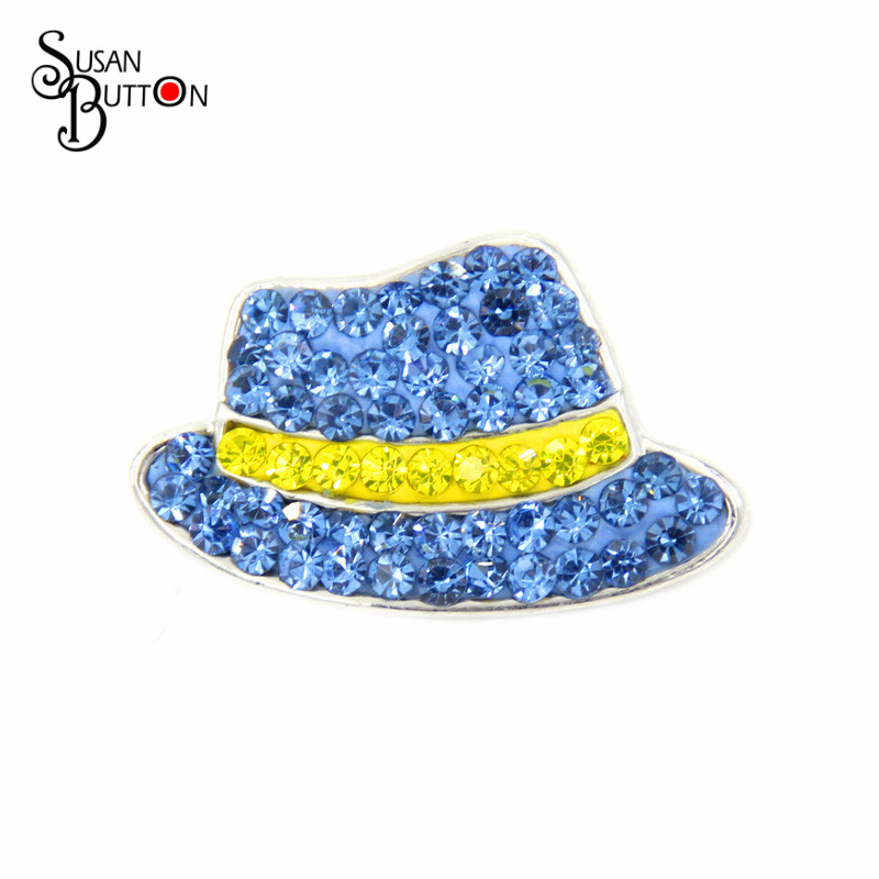 13Color can to Choose 12pcs Newest Crystal Billycock Ceramic Snap Button Jewelry Hat Snap Ginger Charm 18mm Snap Charms