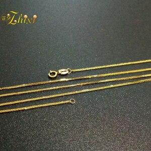 Image 4 - ZHIXI 18K Jóias de Ouro Genuíno Au750 18K Corrente de Ouro Amarelo Longo Real Colar de Pingente de Presente da Festa de Casamento Para mulheres ZXX312