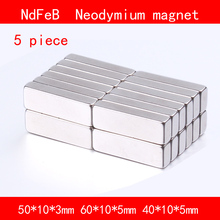 5PCS block magnet 50*10*3mm 60*10*5mm 40*10*5mm n35 Rare Earth strong Permanent NdFeB Neodymium Magnet