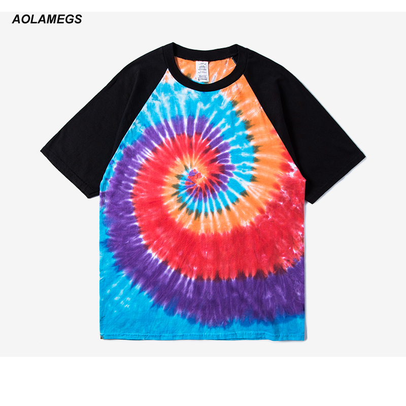 Aolamegs T Shirt Men Rainbow Paisley Printed Short-Sleeved Tee Shirt Homme 2017 New High Street Fashion Casual Cotton Tops Tee