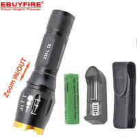XM-L T6 2000 Lumens Zoomable lampe de poche LED torche + 1x6000 mah 18650 batterie Rechargeable + chargeur + étui