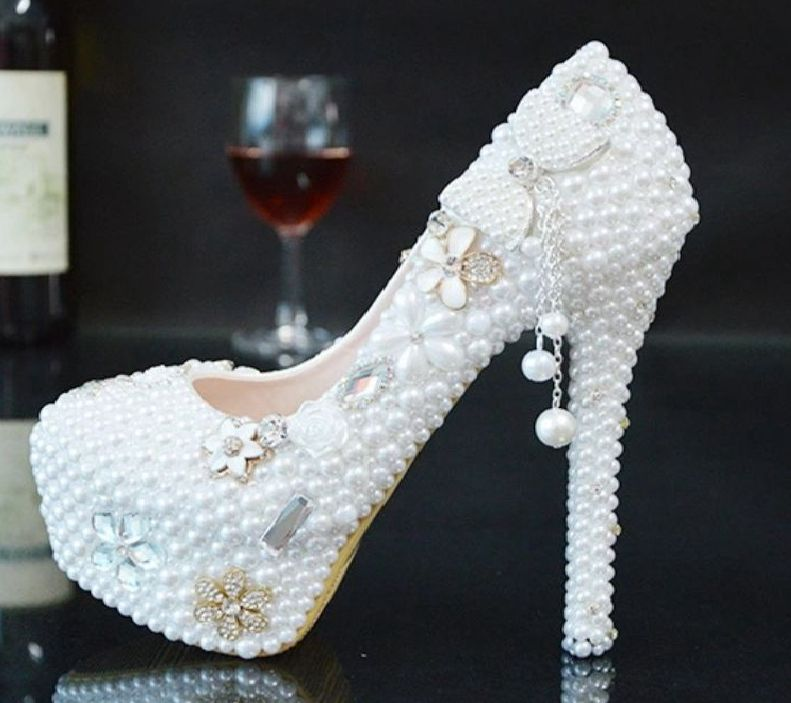 Plus size white pearls wedding shoes bride super high heeled platforms slip on round toes ladies womens girls proms party shoe women wedding shoes flat heel round toes plus size bride shoes lady female sweet lace pearls proms dress evening party shoes